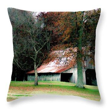 Autumn Barn In Alabama Throw Pillow