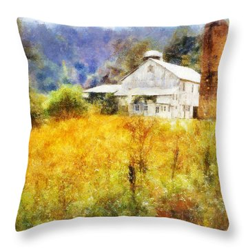Throw Pillow featuring the digital art Autumn Barn In The Morning by Francesa Miller