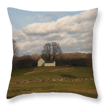 Autumn Barn On The Meadow Throw Pillow