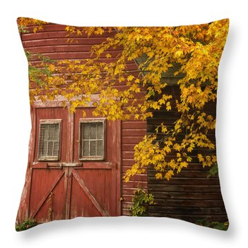 Autumn Barn Throw Pillow