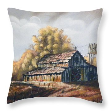 Autumn Barnyard Throw Pillow by Sherril Porter