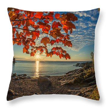 Autumn Bay Near Shovel Point Throw Pillow