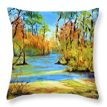Autumn Bayou Throw Pillow by Dianne Parks