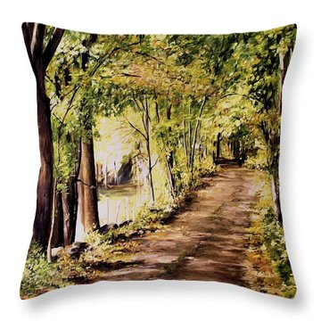 Throw Pillow featuring the painting Autumn Begins In Underhill by Laurie Rohner