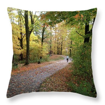Throw Pillow featuring the photograph Autumn Bicycling by Felipe Adan Lerma