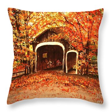 Throw Pillow featuring the painting Autumn Bike Ride by Patricia L Davidson