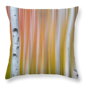 Autumn Birch Abstract Throw Pillow