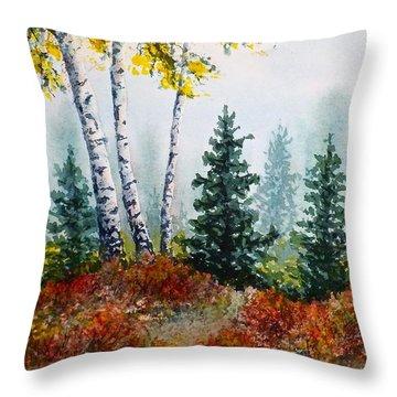 Autumn Birch Throw Pillow
