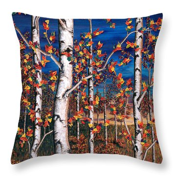Autumn Birch Forest Throw Pillow