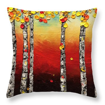 Throw Pillow featuring the painting Autumn Birch Trees by Carmen Guedez
