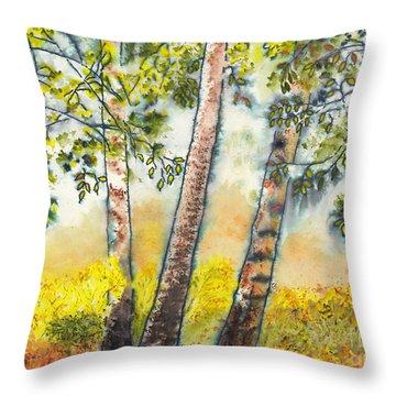 Autumn Birch Trees Throw Pillow