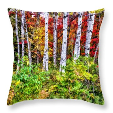 Throw Pillow featuring the painting Autumn Birches by Christopher Arndt