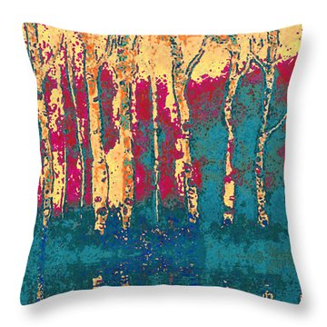 Autumn Birches Throw Pillow