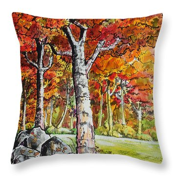 Throw Pillow featuring the painting Autumn Bloom by Terry Banderas