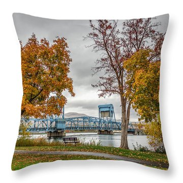 Autumn Blue Bridge Throw Pillow