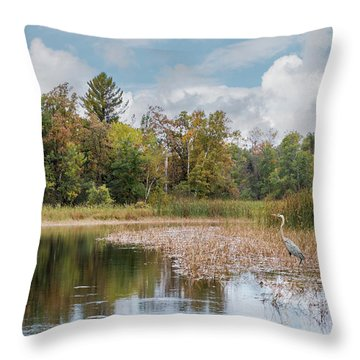 Throw Pillow featuring the photograph Autumn Blue Heron by Patti Deters