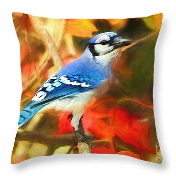 Autumn Blue Jay Throw Pillow by Tina LeCour
