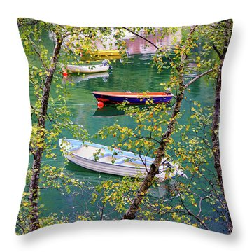 Autumn. Boats Throw Pillow