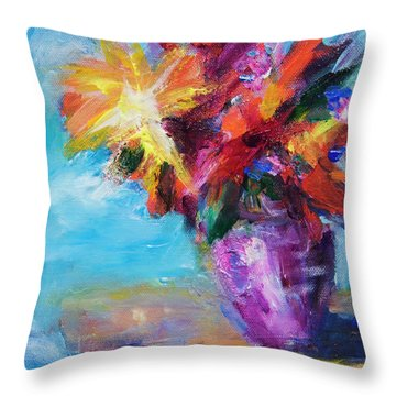 Colorful Flowers  Throw Pillow
