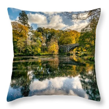 Autumn Bridge Throw Pillow by Adrian Evans