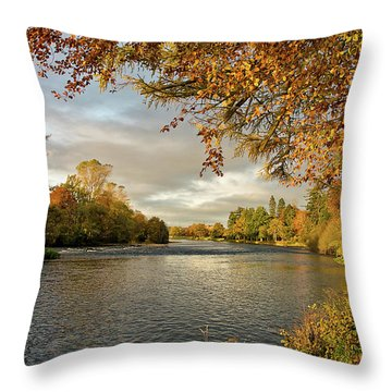 Autumn By The River Ness Throw Pillow
