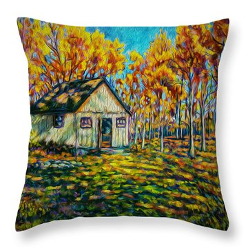 Autumn Cabin Trip Throw Pillow