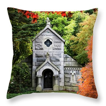 Autumn Chapel Throw Pillow by Betty Denise