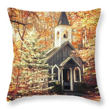 Autumn Chapel Throw Pillow by Joel Witmeyer