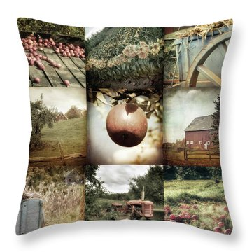 Throw Pillow featuring the photograph Autumn Collage - Autumn In New England by Joann Vitali