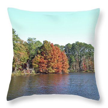 Throw Pillow featuring the photograph Autumn Color At Ratcliff Lake by Jayne Wilson