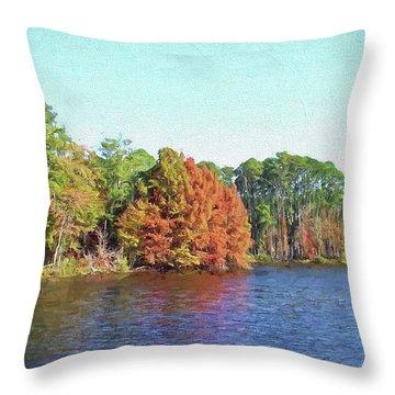 Autumn Color At Ratcliffe Lake Throw Pillow