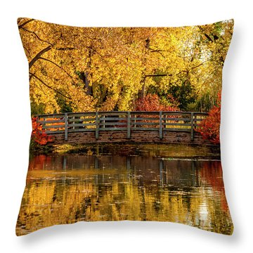 Autumn Color By The Pond Throw Pillow