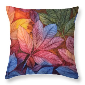 Autumn Color Throw Pillow by Nancy Jolley