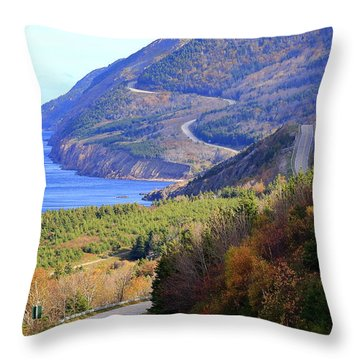 Autumn Color On The Cabot Trail, Cape Breton, Canada Throw Pillow