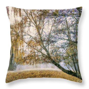 Autumn Colorful Birch Trees Paint Throw Pillow