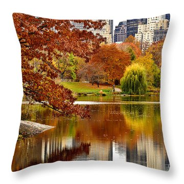 Autumn Colors In Central Park New York City Throw Pillow by Sabine Jacobs
