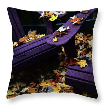 Autumn Colors On The Deck Throw Pillow by Wayne King