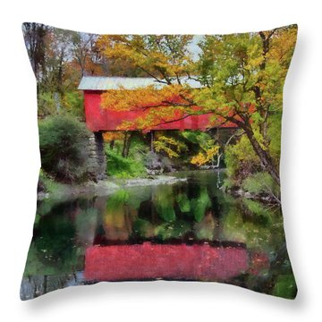 Autumn Colors Over Slaughterhouse. Throw Pillow