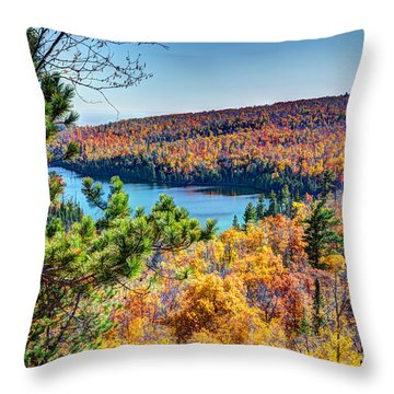 Autumn Colors Overlooking Lax Lake Tettegouche State Park II Throw Pillow