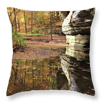 Autumn Comes  To Illinois Canyon  Throw Pillow
