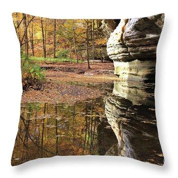 Autumn Comes To Illinois Canyon  Throw Pillow