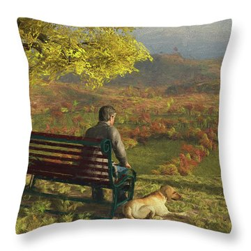 Throw Pillow featuring the digital art Autumn Companions by Jayne Wilson