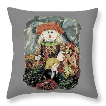 Throw Pillow featuring the digital art Autumn Country Scarecrow by Kathy Kelly
