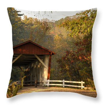 Autumn Covered Bridge Throw Pillow