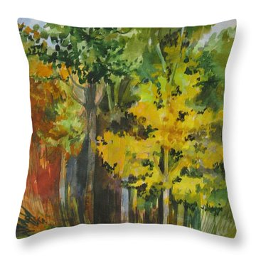 Throw Pillow featuring the painting Autumn Day by Anna  Duyunova