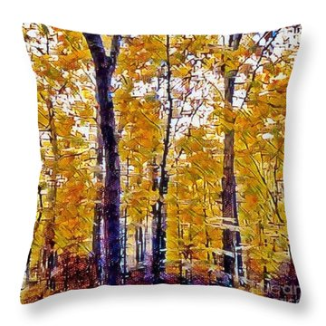 Autumn  Day In The Woods Throw Pillow by MaryLee Parker