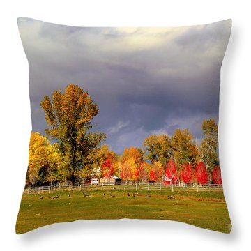 Throw Pillow featuring the digital art Autumn Day by Irina Hays