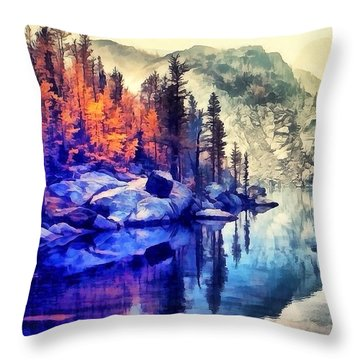 Autumn Day On The Lake. Throw Pillow