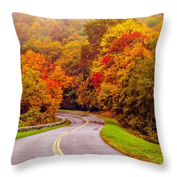 Autumn Drive On The Blue Ridge Throw Pillow by Alex Grichenko
