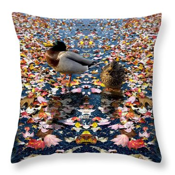 Autumn Ducks Throw Pillow by Kelvin Booker